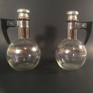 Vintage MCM Glass Oil Vinegar Cruet set
